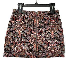 American Eagle paisley velvet mini zip up skirt 4